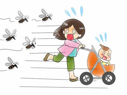 蚊から逃げる赤ちゃん